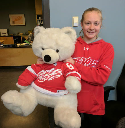 New attire for our Grizzly Bear?   One day wear to recognize the Red Wing's absence in the playoffs!