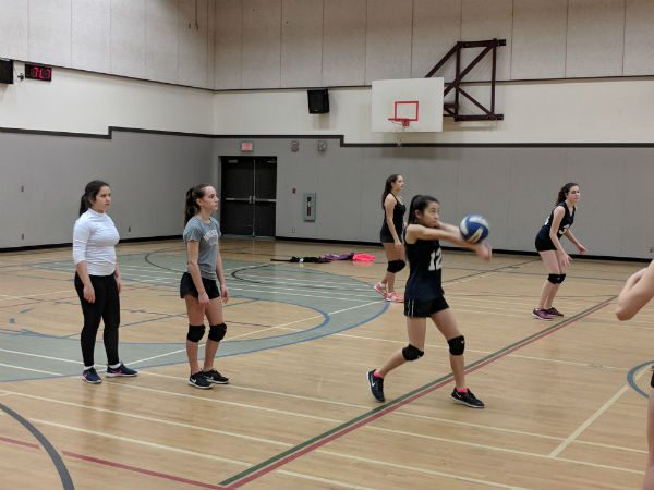 Volleyball practice in action